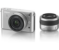 Appreil photo hybride Nikon 1 J1 + Objectifs 10-30 mm & 10mm Silver ou Rouge