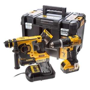 Perceuse visseuse à percussion Dewalt DCD785N + Perforateur burineur SDS Plus DCK206M2T + 2 batteries 18 V 4 Ah Li-ion + Coffret Tstak