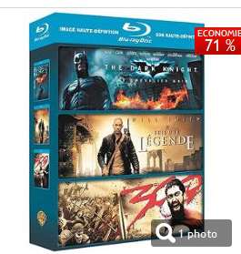 Coffret 3 Blu-ray Action The dark Knight + Je suis une légende + 300