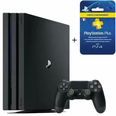 Pack Console PS4 Pro (Noir) - 1 To + Abonnement Playstation Plus de 3 Mois