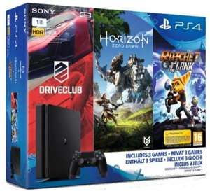 Pack Console Sony PS4 Slim 1 To + Horizon : Zero Dawn + Ratchet & Clank + Drive Club