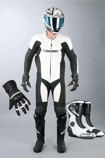 Combinaison moto Alpha Pro cuir blanc + Gants + Bottes