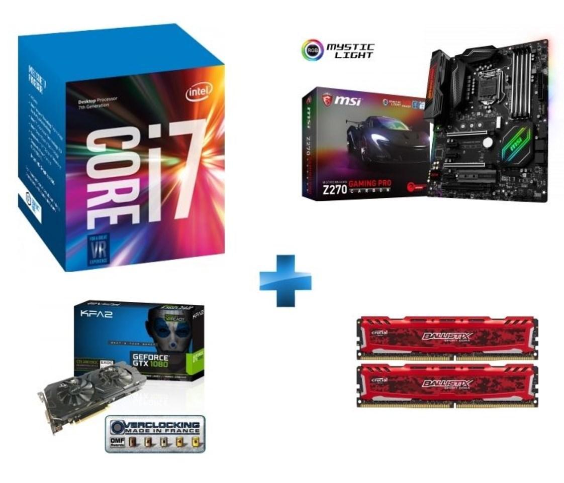Processeur i7-7700K + Carte mère MSI Z270 Gaming Pro Carbon + Kit Ram DDR4 2x8 Go Ballistix Sport LT + GeForce GTX 1080 Exoc 8GB GDDR5X