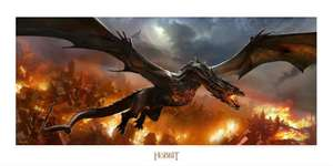 art print Smaug over Lake-Town