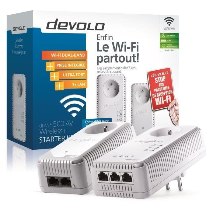 Devolo dLAN 500 AV Wireless+ CPL Wi-Fi 500 Mbit/s - 3 ports Fast Ethernet - Prise Intégrée - Kit de démarrage (x2)