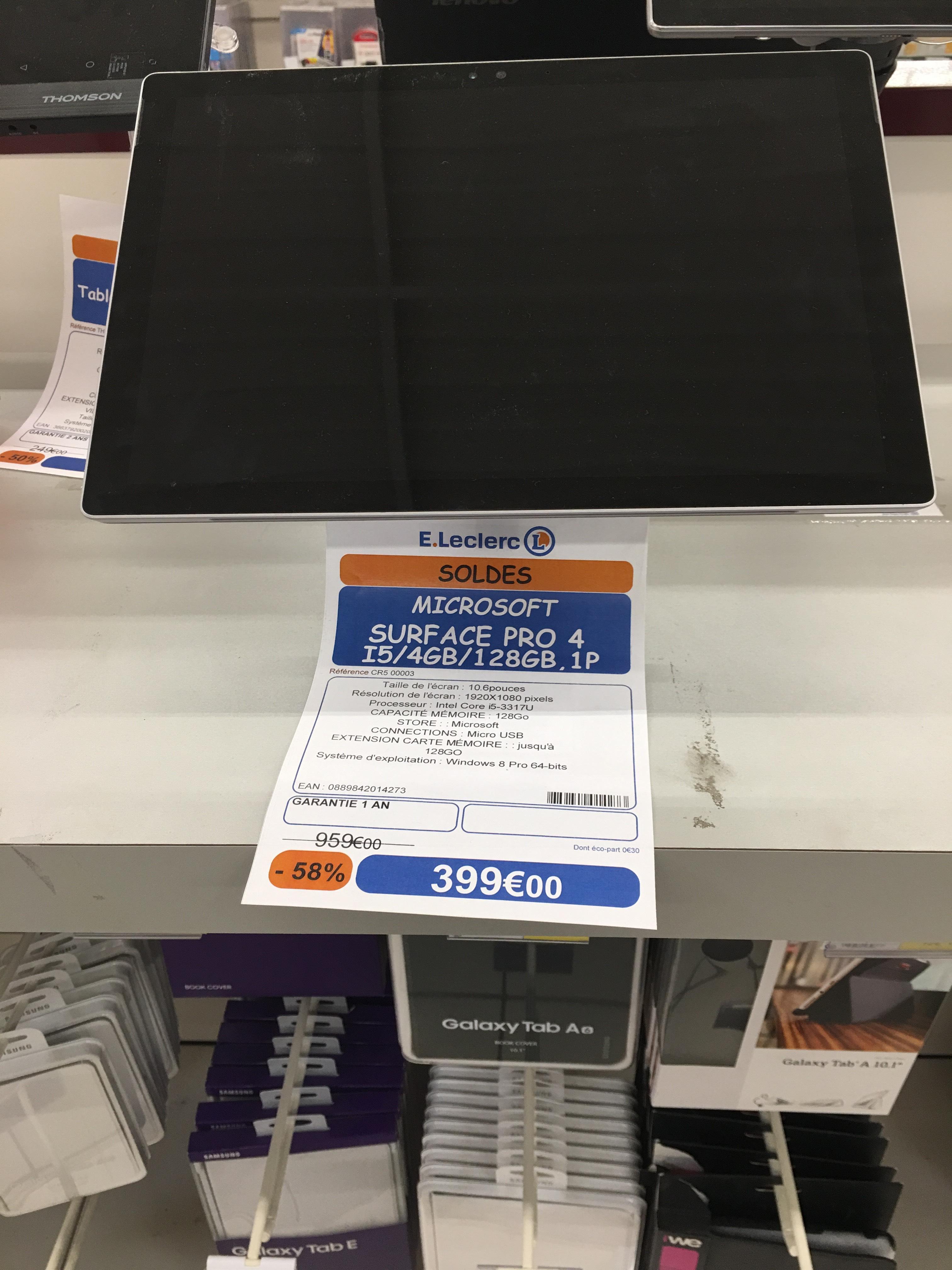 """Sélection de produits en promotion - Ex: Tablette 10.6"""" Microsoft Surface Pro 4 - 4Go de Ram, 128Gi, i5-3317u"""
