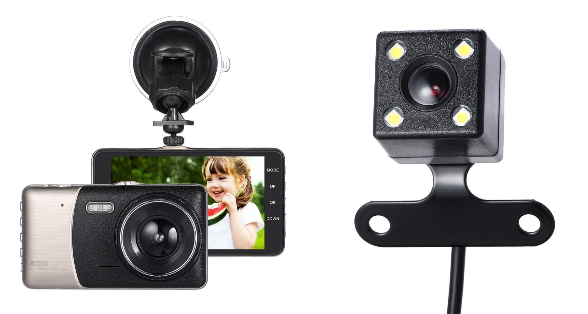 """Caméras DashCam KKmoon (Avant + Arrière) - 1080p / 24fps, Ecran 4"""", Grand angle 120°, Vision nocturne, Détection de mouvement"""