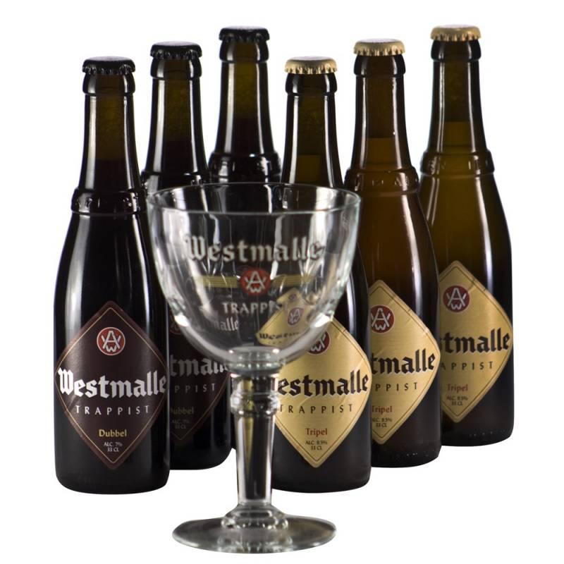 Lot de 6 bouteilles de bière Westmalle 33 cl + 1 verre