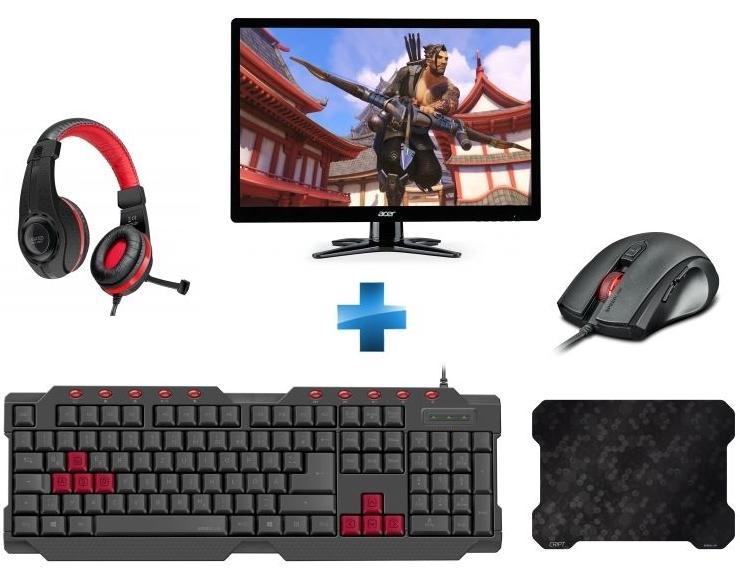 """Ecran PC 27"""" Acer G276HLJBIDX Full HD + Pack d'accessoires Speedlink (Clavier Ferus + Souris Assero + Tapis de souris Cript + Casque Legatos)"""