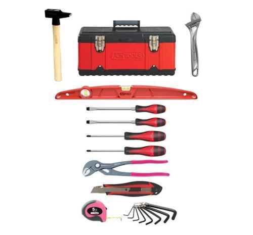 Boîte à outils bi-matière KS Tools avec 18 outils - Rouge et noire