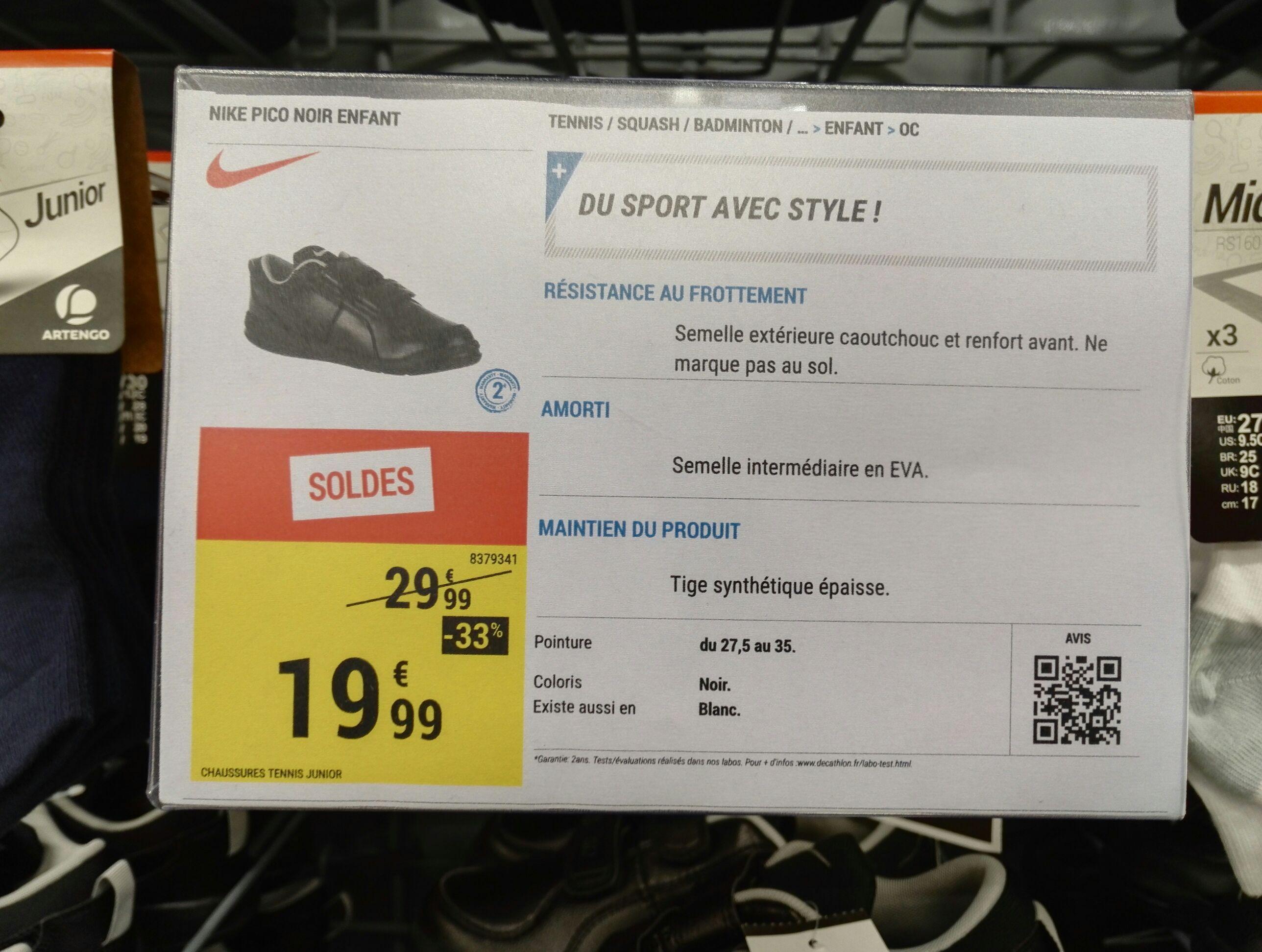 Basket enfant Nike Pico - Taille  27.5 à 35, Noir