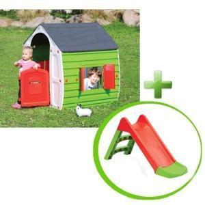 Maison pour enfant Magical 2 fenêtres avec volets - 102x90x109cm + Toboggan 2 marches