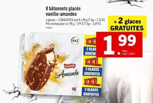 Paquet de 8 bâtonnets de glace Gelatelli - amandes-vanille, 90 g
