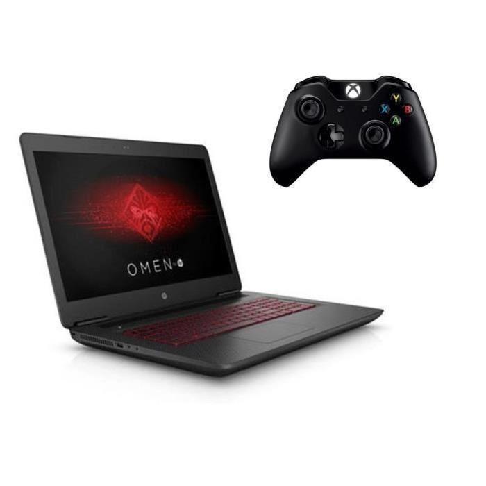 "PC portable 17"" HP Omen 17W228NF - i7-7700HQ, 8 Go RAM, 1 To + 128 Go SSD, GeForce GTX 1070, Windows 10 + Manette Xbox One"