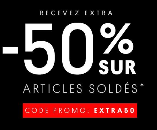 -50% supplémentaires sur les articles soldés
