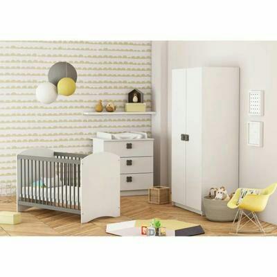 Chambre complète Demeyer Clover pour bébé: Lit à barreaux + Armoire + Commode à langer