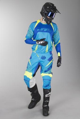 Jusqu'à -49% sur les tenues cross - Ex: Tenue cross JT Racing Protek Subframe - Bleu/jaune