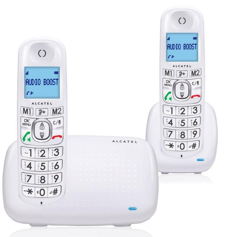 Lot de 2 Téléphones Fixes Alcatel XL 385 Voice - Duo Blanc avec répondeur (via ODR 10€)