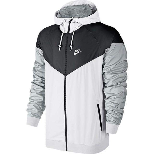 Blouson à capuche zippé Nike Windrunner, Blanc/Noir/Gris (tailles S à XXL)
