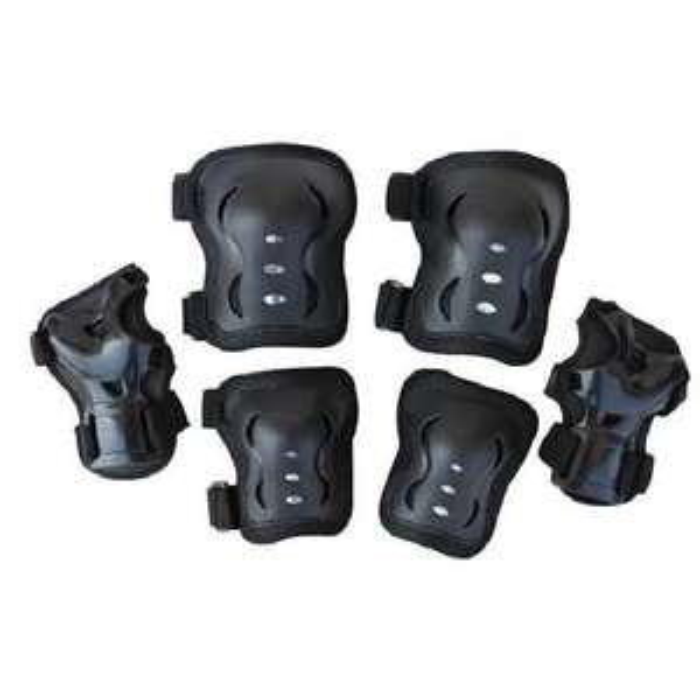 Kit de protection (Noir) - Protèges-paumes + Coudière + Genouillères
