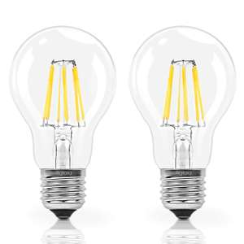 Lot de 2 ampoules Led E27 à filament, 6W Consommés Equivalence 60W, 2700K Blanc Chaud, 600 Lumens