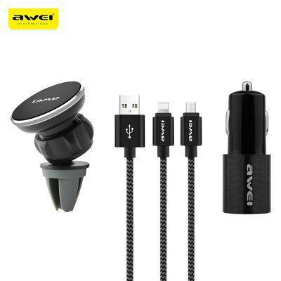 Kit d'accessoires Awei X10 - câble double-sortie (microUSB ou Lightning) + chargeur allume-cigare USB + support auto magnétique