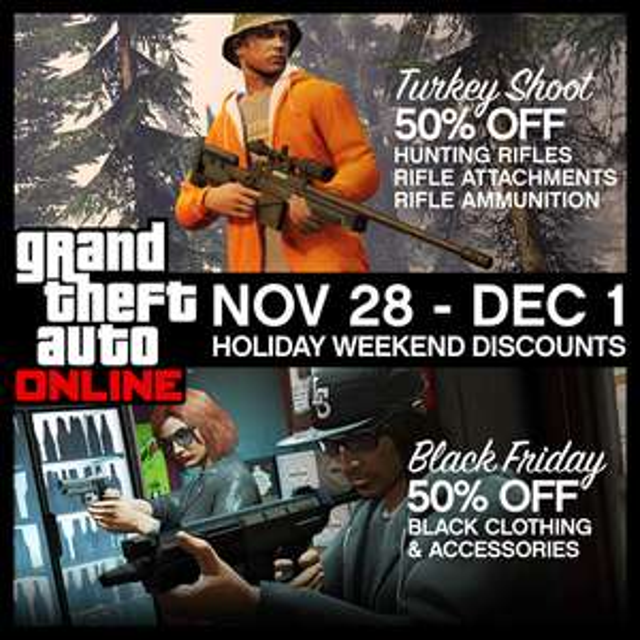 -50% sur une sélection d'objets in-game sur GTA online à l'occasion du Black Friday
