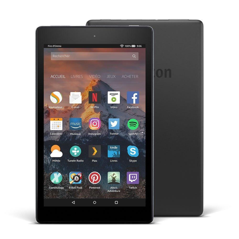"""[Prime] Tablette Fire HD 8, écran HD 8"""" (20,3 cm), 16 Go (Noir) - avec offres spéciales"""