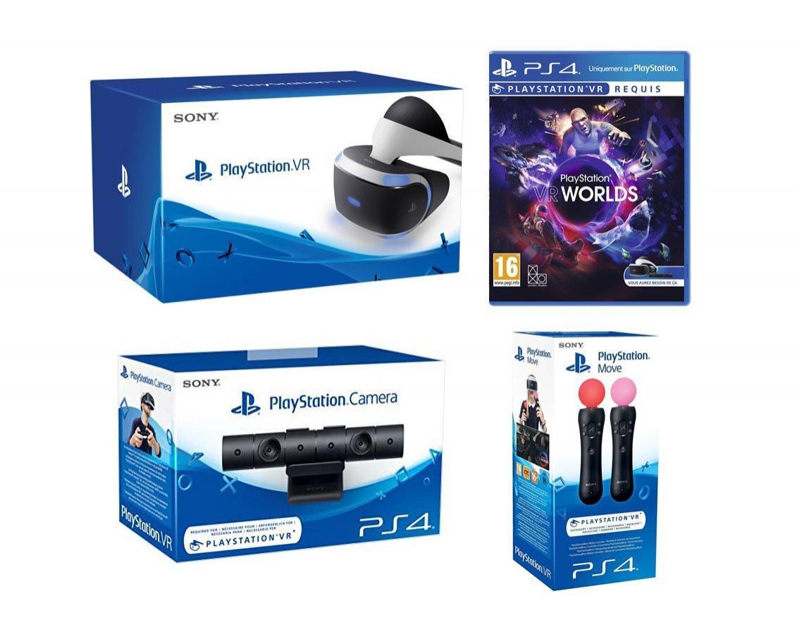 Pack Casque de Réalité Virtuelle PlayStation VR + Caméra PS + Jeu PS4 VR Worlds + Paire PS Move