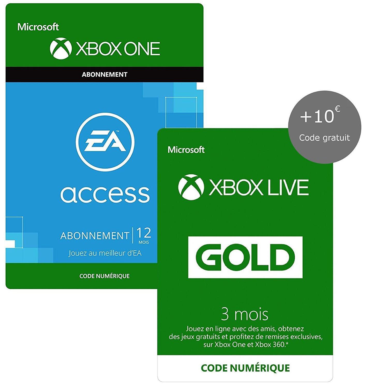 [Prime] Abonnement Xbox Live Gold 3 Mois + abonnement 12 Mois EA Access +10€ de crédit Xbox Live