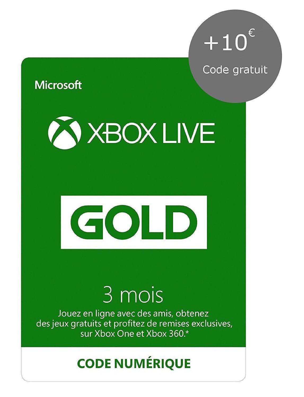 [Prime] Abonnement Xbox Live Gold 3 Mois + 10€ de crédit Xbox Live