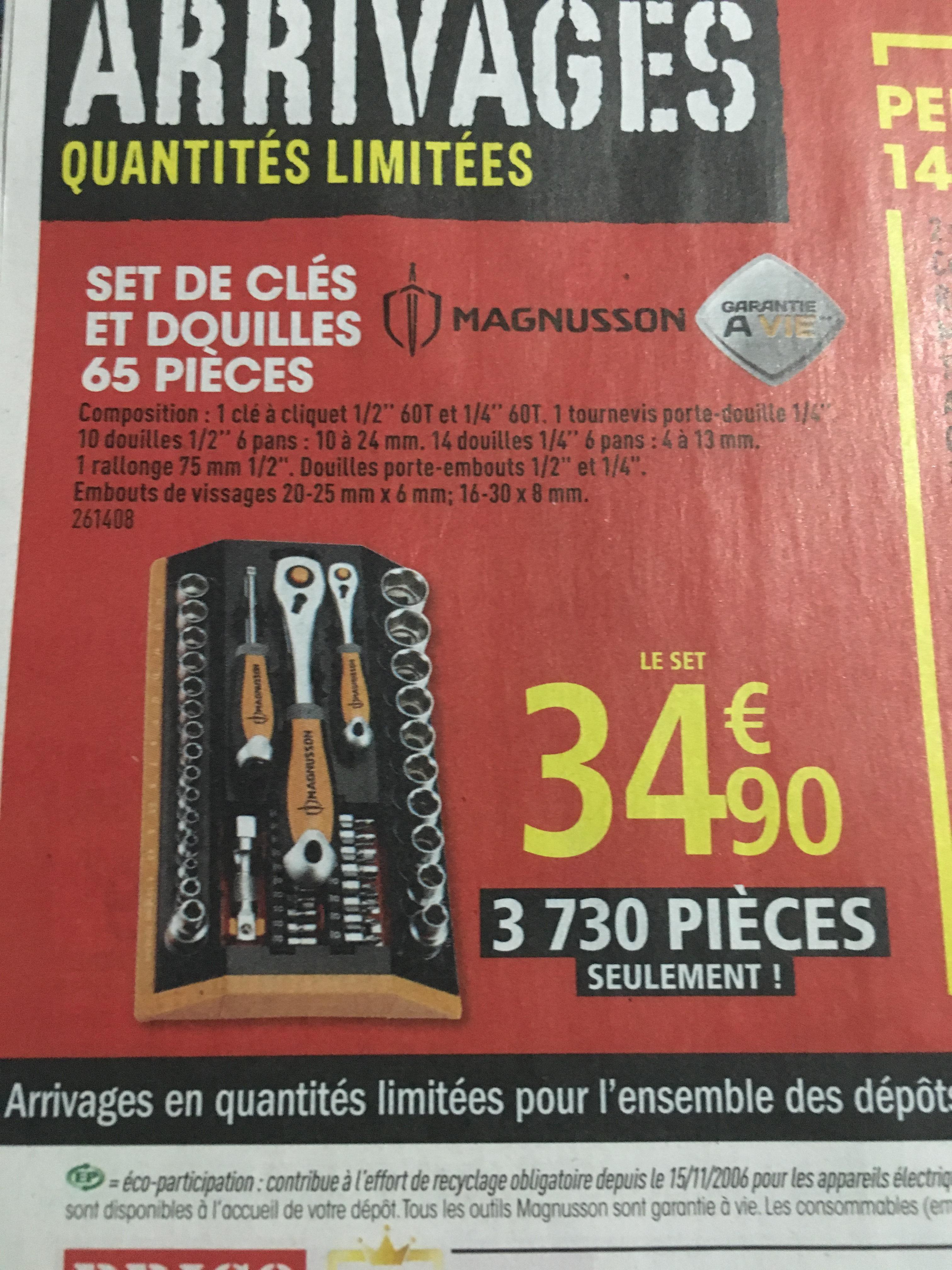 Set de clé et Douilles Magnusson 65 pièces garantie à vie