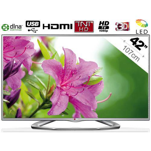 """Télévision 42"""" LG 42LA6130 LED 3D - Ci+ - 3B - DLNA + 2 paires de lunettes 3D"""
