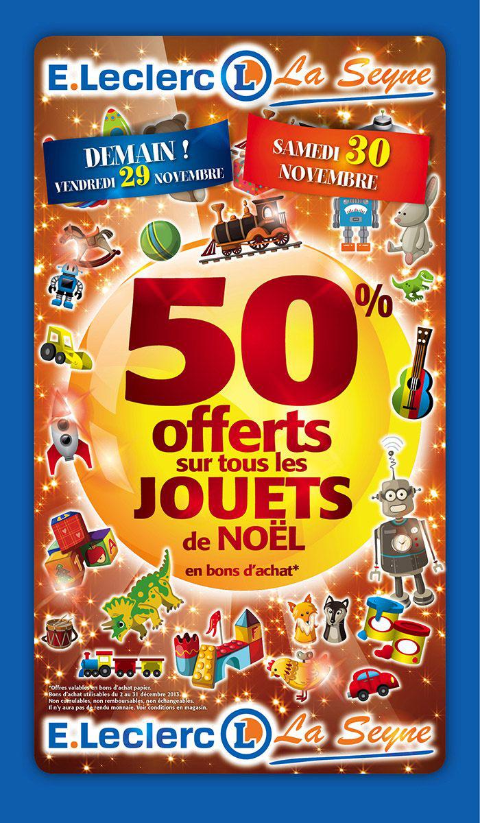 50% offert sur tous les jouets de Noël en bon d'achat