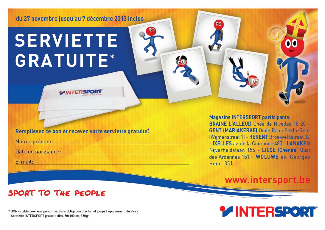 Serviette Intersport 50x100 cm gratuite