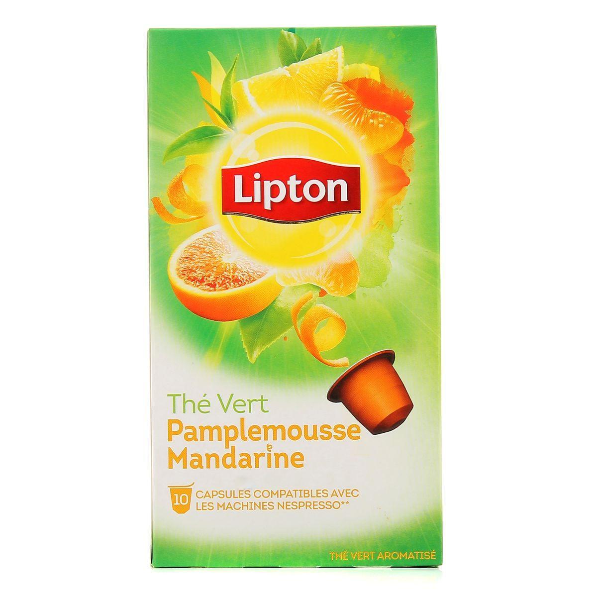 10 capsules Nespresso Thé Lipton Pamplemousse Mandarine