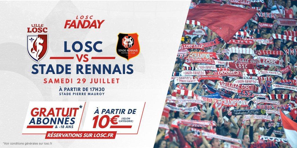 Match Losc - Stade Rennais le samedi 29 juillet gratuit pour les moins de 18 ans