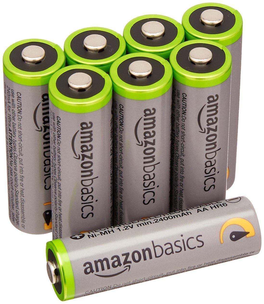 [Prime] Lot de 8 piles rechargeables AA AmazonBasics - 2400 mAh