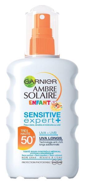 [Panier plus] Crème Solaire Garnier Ambre Sensitive Expert+ Enfant Spray Protecteur FPS 50+, 200 ml