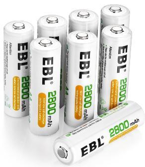 [Prime] Lot de 8 Piles Rechargeables  EBL  AA Ni-MH - 2800mAh, 1200 Cycles + Boîte de Rangement