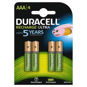 [Prime] Pack de 4 Piles Rechargeables Duracell Recharge Ultra AAA - 850mAh