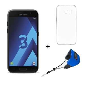 "Pack smartphone 4.7"" Samsung Galaxy A3 (2017, noir) + courroie flottante + coque (via ODR de 30€) - via l'application"