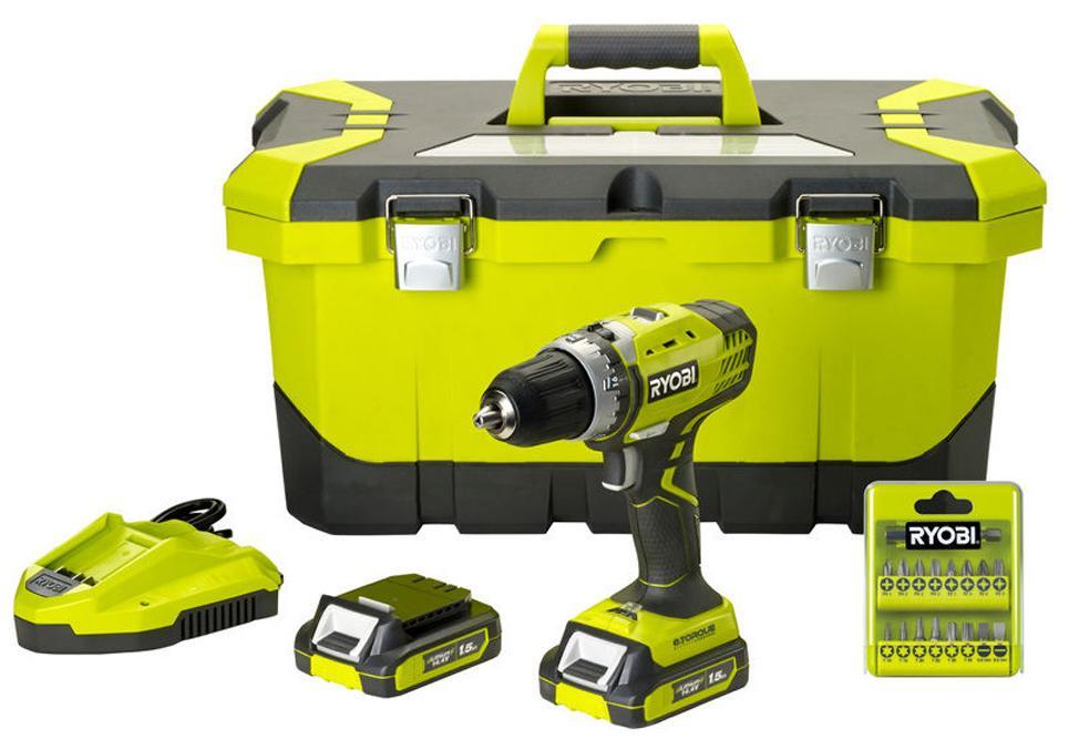 Perceuse visseuse Ryobi 14.4 V + 2 Batteries 1.5 Ah + Boite à outils + 17 accessoires
