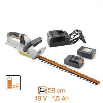 taille haie sans fil 18V + coupe bordure sans fil 18V + 2 batteries 1,5Ah + chargeur keyma