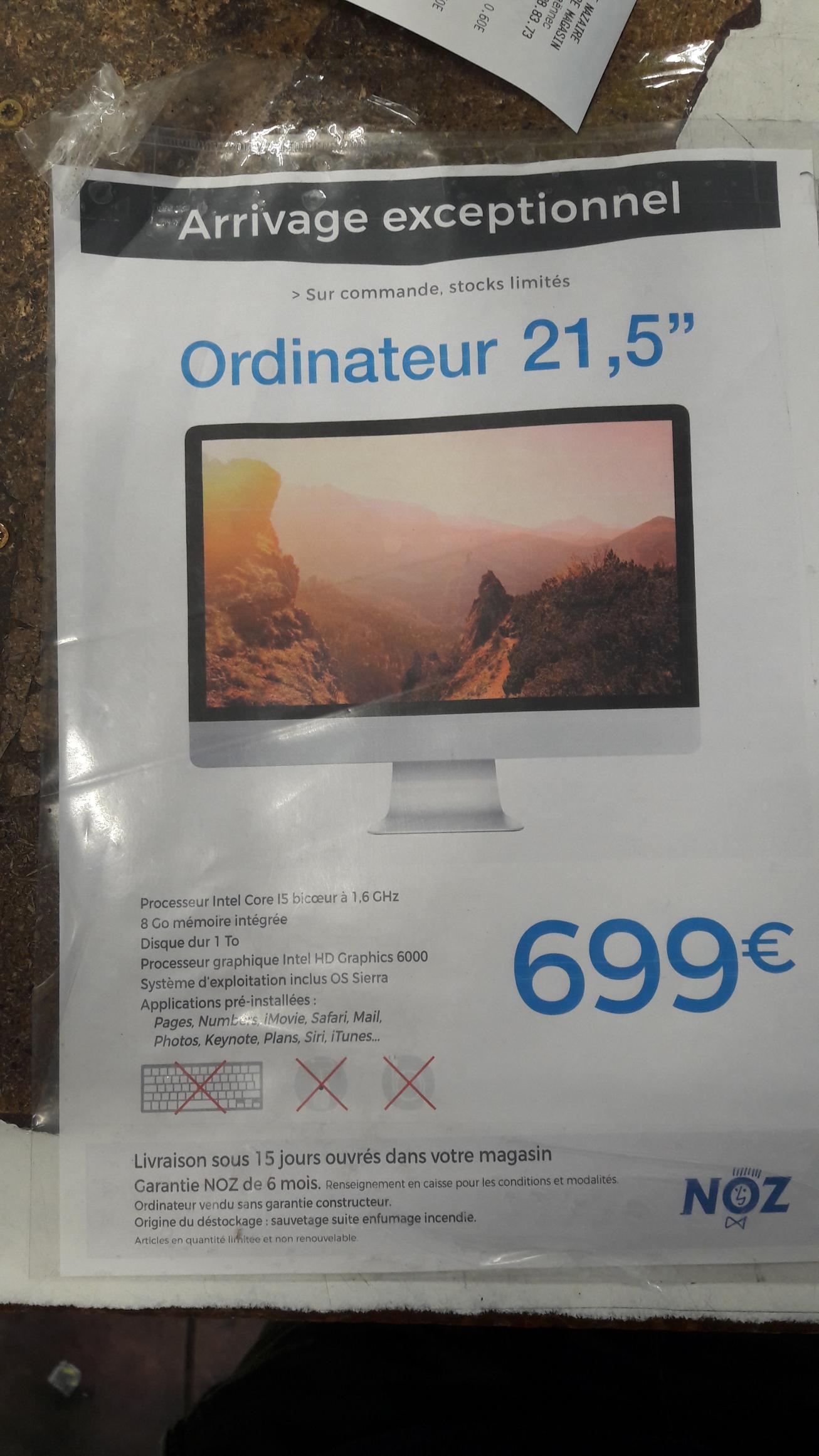 """Apple iMac 21,5"""" MK142FN/A (i5, 8 Go RAM, 1 To HDD)"""