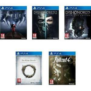 Pack de 5 Jeux PS4 : Prey + Dishonored 2 + Dishonored Definitve Edition + The Elder Scrolls Tamriel