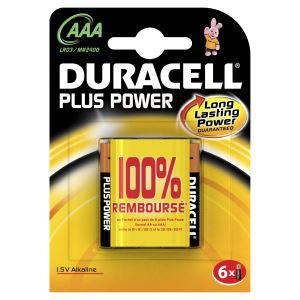 Piles Alcaline Duracell Plus Power x6 AA ou AAA  gratuit  (avec ODR 100% remboursées)