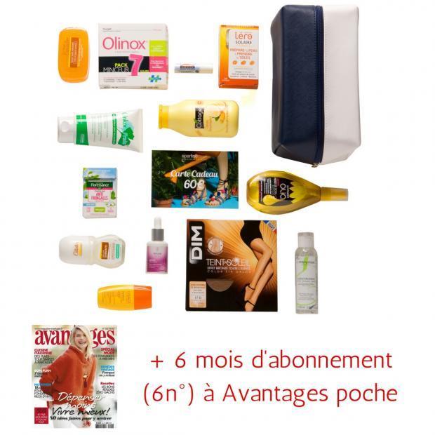 Box de 13 Produits de grandes marques + 6 mois d'abonnement (6n°) à Avantages Poche (+ 60€ en bon d'achat à utiliser chez Spartoo)