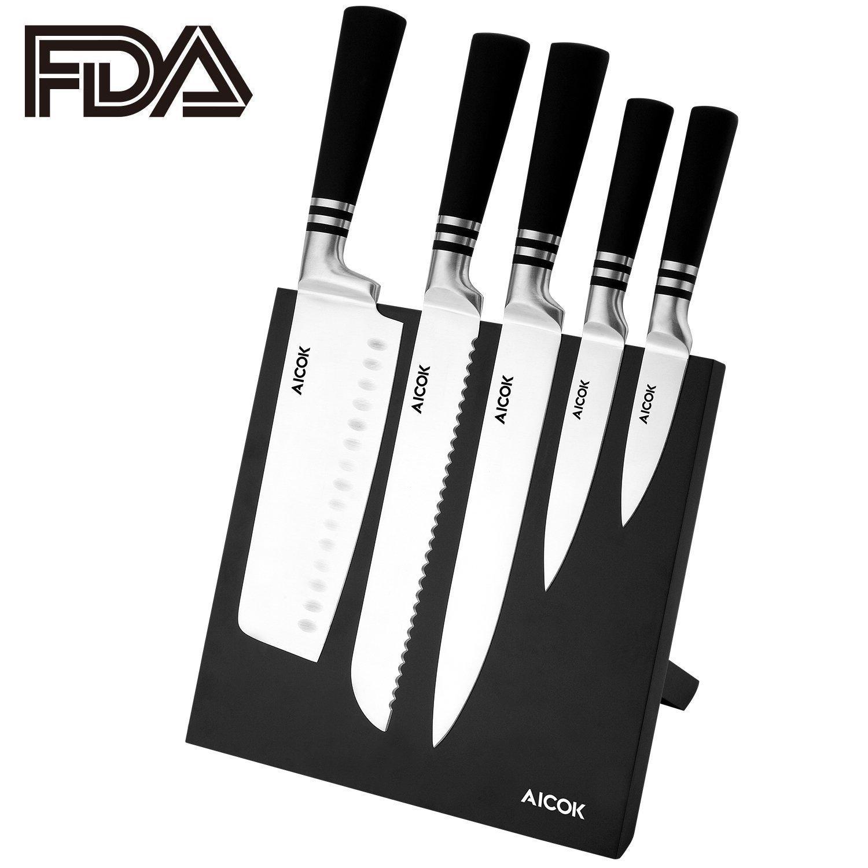 Lot de 6 couteaux de Cuisine Aicok en Acier Inoxydable avec support aimanté