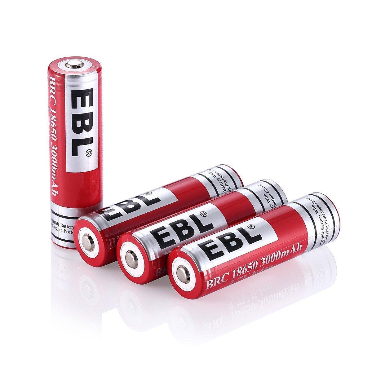 Lot de 4 piles rechargeables EBL, 3000mAh, 3.7V